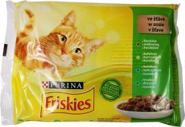 FRISKIES Szószban Marhával/Csirkével/Tonhallal/Tőkehallal nedves macskaeledel 4x85g
