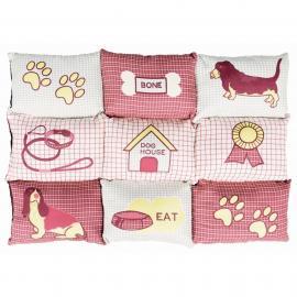 Fekhely több lapból álló macskás (patchwork) 80x55cm piros/bézs