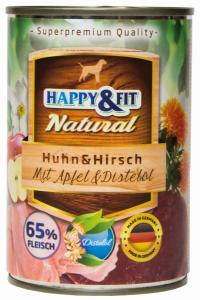 Happy&Fit Natural Huhn&Hirsch mit Apfel&Distelöl 400g