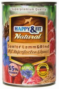 Happy&Fit Natural Senior Lamm&Rind mit Haferflocken&Leinöl 400g