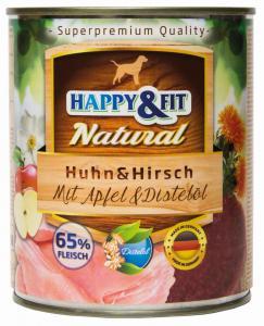 Happy&Fit Natural Huhn&Hirsch mit Apfel&Distelöl 800g