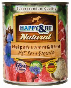 Happy&Fit Natural Welpen Lamm&Rind mit Reis&Leinöl 800g