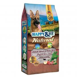 Happy&Fit Natural Adult Rind&Reis XL 12kg