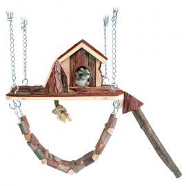 Játszótér ketrecbe függeszthető fából rágcsálóknak 26×22cm