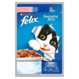 FELIX FANTASTIC DUO Lazaccal és szardíniával aszpikban nedves macskaeledel 100g