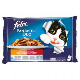 FELIX FANTASTIC DUO Házias válogatás aszpikban nedves macskaeledel 4x100g