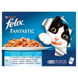 FELIX FANTASTIC Halas válogatás aszpikban nedves macskaeledel 12x100g