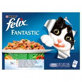 FELIX FANTASTIC Házias válogatás, zöldségekkel aszpikban nedves macskaeledel 12x100g