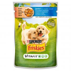 FRISKIES Junior Csirkével és sárgarépával szószban nedves kutyaeledel 100g